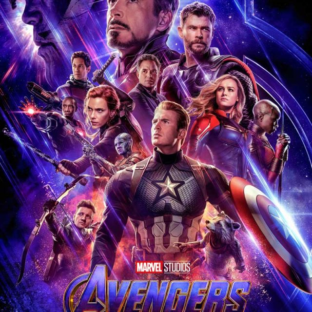 Avengers movie poster with robert downey at top of pyramid of main character faces