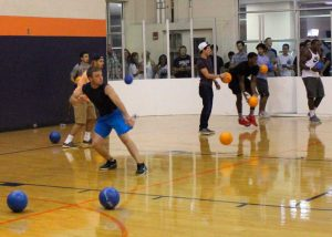 Dodgeball game at Late Night
