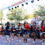 UTSA Cheer squad performing outside Union