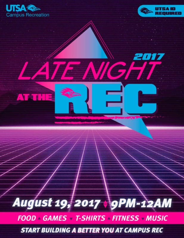 Late Night at Rec 2017 using purple blue retrowave design