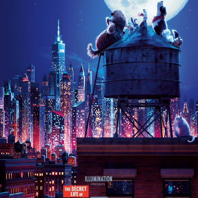 Secret life of pets 2 poster with pets on water tower looking at cityscape at night