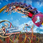 Wonder Woman Rollercoaster with Riders on Loop upside down