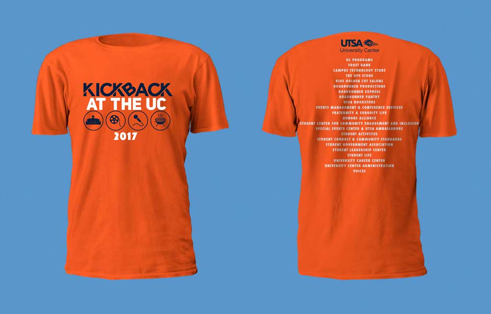 Orange T-Shirt with White and Blue writing Kickback at the UC 2017
