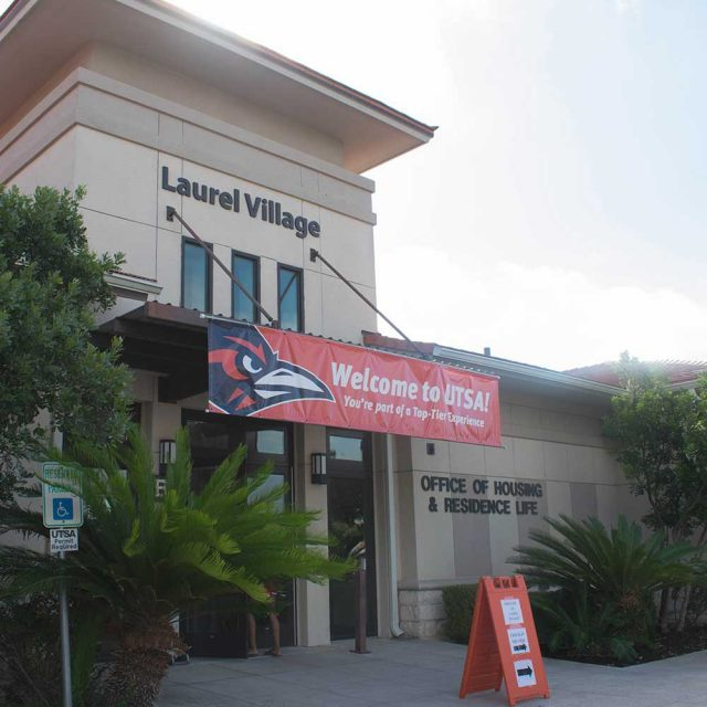 Laurel Village Main Entrance with Welcome Banner