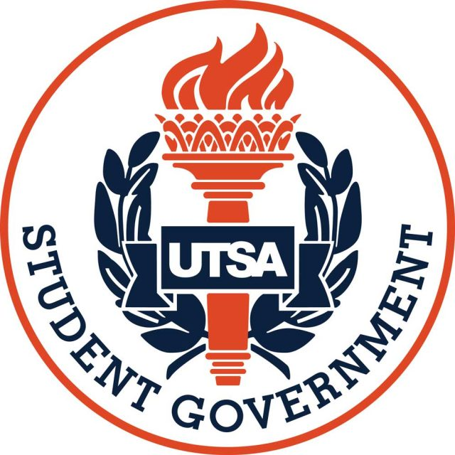 UTSA SGA Seal Orange Torch Blue Laurels with UTSA Student Government lettering