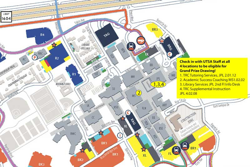 UTSA Campus Map showing 3 Success Walk locations in JPL and 1 location in MS Building