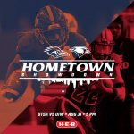 Hometown Showdown Aug 31 5pm poster shows one player each from UTSA and UIW with orange blue overlays