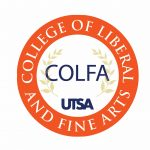 UTSA COLFA Seal orange circle white lettering spelling out COLFA acronym